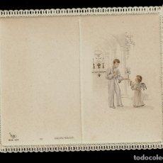 Postales: ANTIGUA ESTAMPA DE COMUNION CON PUNTILLA-CARNET -ED. DE ARTE - IMP. ITALIA -MENGA MILANO- SIN TEXTO. Lote 171792850