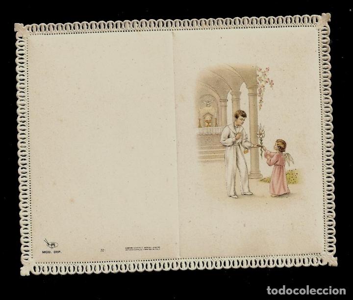 ANTIGUA ESTAMPA DE COMUNION CON PUNTILLA-CARNET- ED. DE ARTE- IMP. ITALIA-MENGA MILANO-SIN TEXTO (Postales - Postales Temáticas - Religiosas y Recordatorios)