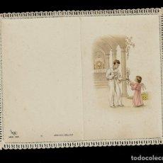 Postales: ANTIGUA ESTAMPA DE COMUNION CON PUNTILLA-CARNET- ED. DE ARTE- IMP. ITALIA-MENGA MILANO-SIN TEXTO. Lote 171793054