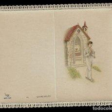 Postales: ANTIGUA ESTAMPA DE COMINION CON PUNTILLA- CARNET- ED. DE ARTE- IMP. ITALIA-MENGA MILANO - SIN TEXTO. Lote 171793144