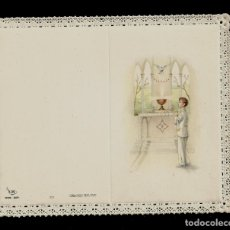 Postales: ANTIGUA ESTAMPA DE COMUNION CON PUNTILLA- ED. DE ARTE- IMP EN ITALIA- MENGA-MILANO- SIN TEXTO. Lote 171793885