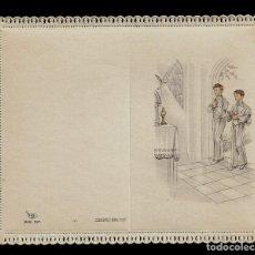 Postales: ANTIGUA ESTAMPA DE COMUNION CON PUNTILLA -CARNET- ED. DE ARTE -IMP EN ITALIA MENGA-MILANO -SIN TEXTO. Lote 171794310