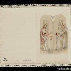Postales: ANTIGUA ESTAMPA DE COMUNION CON PUNTILLA -CARNET- ED. DE ARTE -IMP EN ITALIA MENGA-MILANO -SIN TEXTO. Lote 171794357