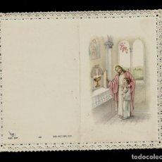 Postales: ANTIGUA ESTAMPA DE COMUNION CON PUNTILLA -CARNET- ED. DE ARTE -IMP EN ITALIA MENGA-MILANO -SIN TEXTO. Lote 171794434