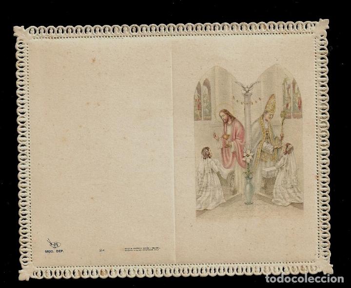 ANTIGUA ESTAMPA DE COMUNION CON PUNTILLA -CARNET- ED. DE ARTE -IMP EN ITALIA MENGA-MILANO -SIN TEXTO (Postales - Postales Temáticas - Religiosas y Recordatorios)