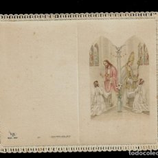 Postales: ANTIGUA ESTAMPA DE COMUNION CON PUNTILLA -CARNET- ED. DE ARTE -IMP EN ITALIA MENGA-MILANO -SIN TEXTO. Lote 171794480