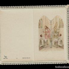 Postales: ANTIGUA ESTAMPA DE COMUNION CON PUNTILLA -CARNET- ED. DE ARTE -IMP EN ITALIA MENGA-MILANO -SIN TEXTO. Lote 171794533
