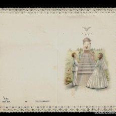 Postales: ANTIGUA ESTAMPA DE COMUNION CON PUNTILLA -CARNET- ED. DE ARTE -IMP EN ITALIA MENGA-MILANO -SIN TEXTO. Lote 171794618