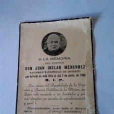 Postales: 73-RECORDATORIO DOCTOR DON JUAN INCLAN MENENDEZ, PARROCO INFIESTO,ASTURIAS 1936. Lote 172994803