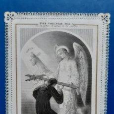 Postales: POSTAL DE ÁNGEL CON PUNTILLA DE SIGLO XIX. LEER CONDICIONES ANTES DE PUJAR.. Lote 175146118