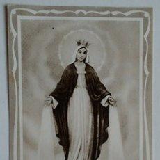 Postales: ESTAMPA RELIGIOSA ANTIGUA LA MILAGROSA CASA BAÑERES REZA. Lote 175234780
