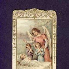 Postales: ESTAMPA RELIGIOSA: ANGEL DE LA GUARDA. TROQUELADA. ORLA DORADA Y EN RELIEVE. MODERNISTA. Lote 198390670