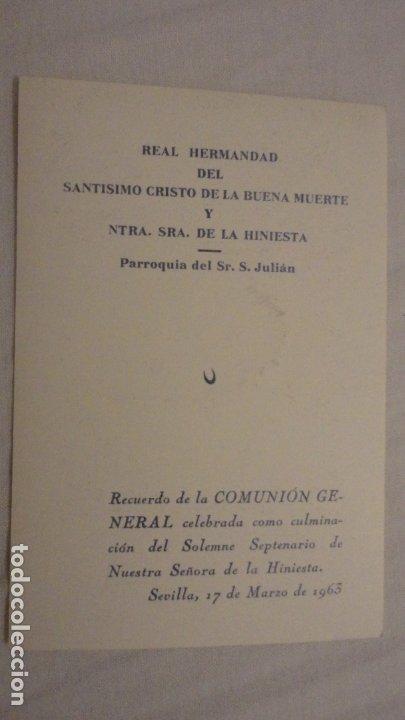 Postales: RECUERDO SOLEMNE SEPTENARIO.VIRGEN DE LA HINIESTA.SAN JULIAN.SEVILLA 1963 - Foto 2 - 175812293