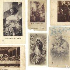 Postales: LOTE DE 13 ESTAMPITAS PEQUEÑAS RELIGIOSAS ANTIGUAS EN B/N. Lote 177128147