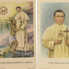 Postales: LOTE DE 4 ESTAMPITAS PADRE DAMIÁN. Lote 177130798