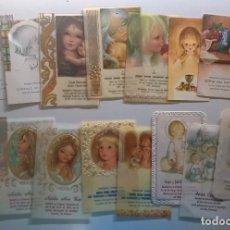 Postales: LOTE 15 ESTAMPAS RELIGIOSAS ANTIGUAS - RECORDATORIOS COMUNIÓN - AÑOS 1971 A 1997. Lote 177217667