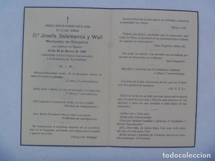 Postales: RECORDATORIO DE SEÑORA MARQUESA. FALLECIDA EN MADRID EN 1948 - Foto 2 - 177514889