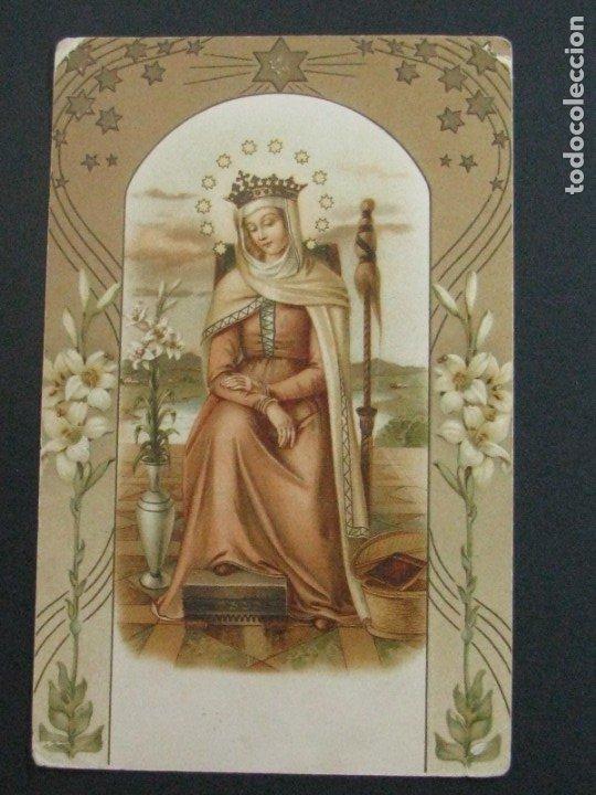 POSTAL RELIGIOSA CROMOLITOGRAFÍA CON RELIEVES Y DORADOS. ALCOY 1928 (Postales - Postales Temáticas - Religiosas y Recordatorios)