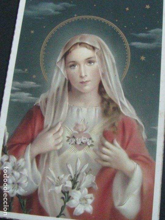 Postales: POSTAL RELIGIOSA DE CALIDAD CON DORADOS INMACULADO CORAZON DE JESUS. - Foto 3 - 177566779