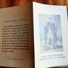 Postales: SAN EXPEDITO, ABOGADO DE LOS CASOS PERDIDOS. TRIDUO Y ORACIÓN. DÍPTICO.. Lote 177629765