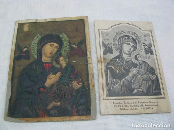 LOTE DE 2 ANTIGUAS ESTAMPAS RELIGIOSAS VIRGEN DEL PERPETUO SOCORRO , VALENCIA (Postales - Postales Temáticas - Religiosas y Recordatorios)
