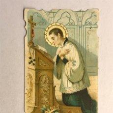 Postales: SAN LUIS GONZAGA. ROGAD POR NOSOTROS (H.1940?) ESTAMPA RELIGIOSA TROQUELADA. Lote 178310027