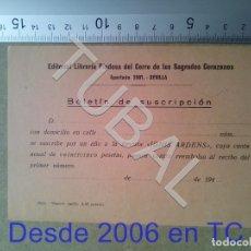 Postales: TUBAL SUSCRIPCION LIBRERIA RELIGIOSA SEVILLA ESTAMPA ANTIGUA ENVIO 2019 70 CTMS B04. Lote 178785243