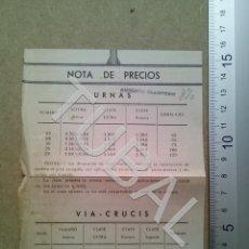 Postales: TUBAL NOTA DE PRECIOS URNAS Y VIA CRUCIS ESTAMPA ANTIGUA ENVIO 2019 70 CTMS B04. Lote 178787331