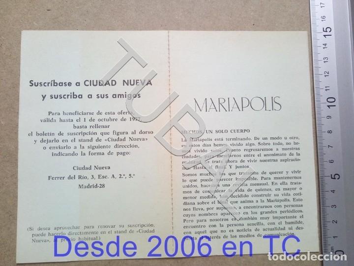 TUBAL MARIAPOLIS DIPTICO ESTAMPA ANTIGUA ENVIO 2019 70 CTMS B04 (Postales - Postales Temáticas - Religiosas y Recordatorios)