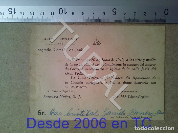 Postales: TUBAL PROCESION CRISTOBAL GARRIDO 1940 ESTAMPA ANTIGUA ENVIO 2019 70 CTMS B04 - Foto 3 - 178789126
