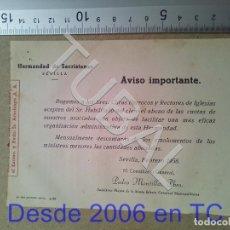 Postales: TUBAL HERMANDAD DE SACRISTANES SEVILLA ESTAMPA ANTIGUA ENVIO 2019 70 CTMS B04. Lote 178789397
