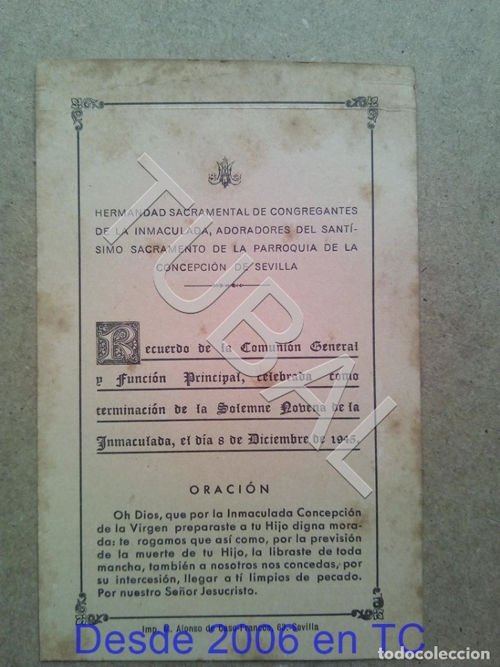 Postales: TUBAL PARROQUIA DE LA CONCEPCION SEVILLA 1945 ESTAMPA ANTIGUA ENVIO 2019 70 CTMS B04 - Foto 2 - 178789671