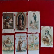 Postales: LOTE DE 7 ANTIGUAS ESTAMPAS RELIGIOSAS TROQUELADAS. Lote 178803461