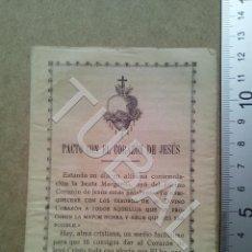 Postales: TUBAL PACTO CON EL CORAZON DE JESUS DIPTICO ESTAMPA ANTIGUA ENVIO 2019 70 CTMS B04. Lote 178939172
