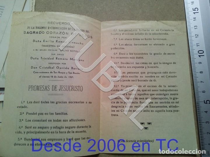 Postales: TUBAL 1937 SAN ROQUE CRISTOBAL GARRIDO ENTRONIZACION SAGRADO ESTAMPA ANTIGUA ENVIO 2019 70 CTMS B04 - Foto 2 - 178940600