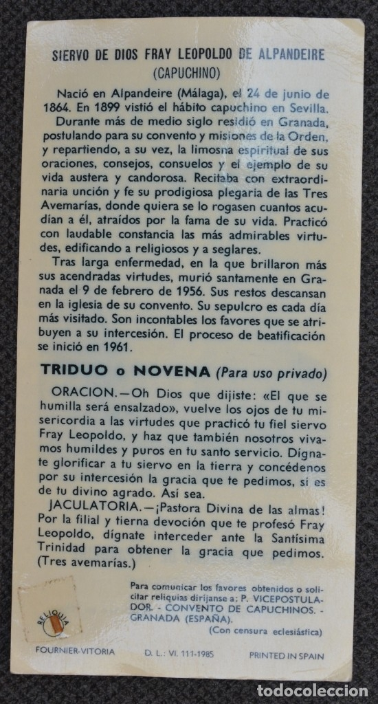Postales: FRAY LEOPOLDO DE ALPANDEIRE - estampa con reliquia - Fournier Vitoria - 1985 - Foto 2 - 179076186