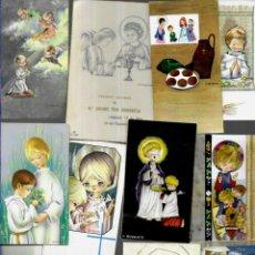 Postales: 100 RECORDATORIOS COMUNIÓN AÑOS 60 - IMPRESOS ,DIFERENTES / 4/. Lote 179651076