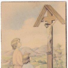 Postales: ANTIGUA POSTAL - NIÑOS REZANDO ANTE JESÚS EN LA CRUZ - GT 702. Lote 180156732