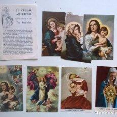 Postales: ANTIGUAS -DÍPTICO Y 7 ESTAMPAS RELIGIOSAS CON ORACIÓN - LA DEVOCIÓN DE LAS TRES AVEMARÍAS - AÑO 1957. Lote 180220277