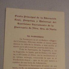 Postales: ANTIGUA ESTAMPA.FIESTA ADORACION PERPETUA SANTISMO SACRAMENTO PARROQUIA NTRA.SEÑORA NURIA.GERONA.. Lote 180286620