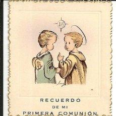 Postales: LOTE 3 RECORDATORIOS COMUNIÓN *BENAGES* - MURCIA 1953 (BORDE DENTADO DORADO). Lote 181088772