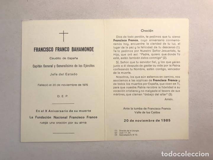 Postales: OBITUARIO. FRANCISCO FRANCO BAHAMONDE , en él X Aniversario de su muerte. 20 Noviembre de 1985 - Foto 3 - 182040010