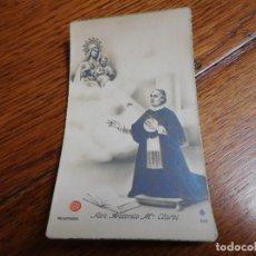 Postales: ESTAMPA CON RELIQUIA DEL BEATO ANTONIO MARIA CLARET. Lote 182294565