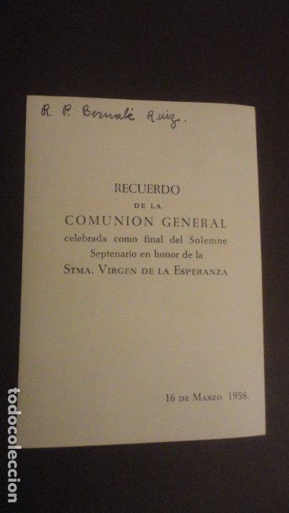 Postales: RECUERDO SOLEMNE SEPTENARIO.VIRGEN MACARENA.SEVILLA 1958 FOTOGRAFICA - Foto 2 - 182309607
