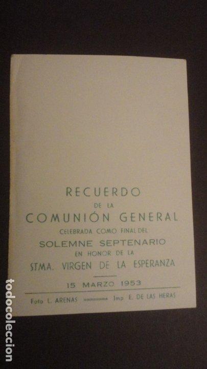 Postales: RECUERDO SOLEMNE SEPTENARIO.VIRGEN MACARENA.FOTO ARENAS.SEVILLA 1953 - Foto 2 - 182309776
