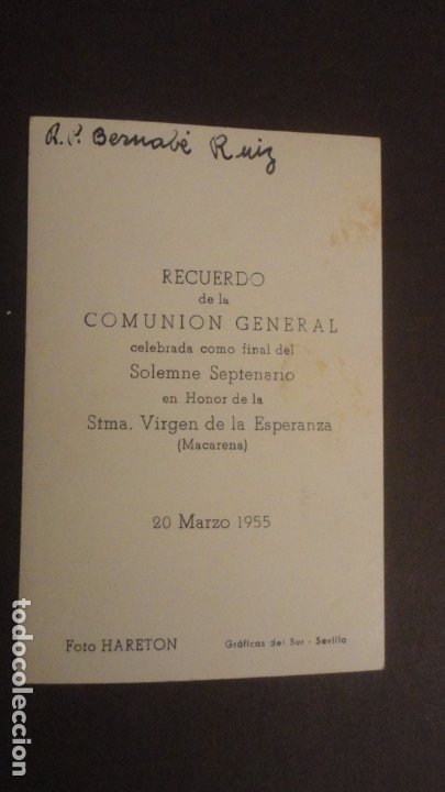 Postales: RECUERDO SOLEMNE SEPTENARIO VIRGEN MACARENA SEVILLA 1955. FOTO HARETON - Foto 2 - 182311875