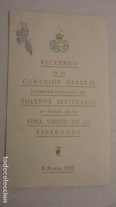 Postales: RECUERDO SOLEMNE SEPTENARIO.VIRGEN MACARENA SEVILLA 1959 - Foto 2 - 182323720