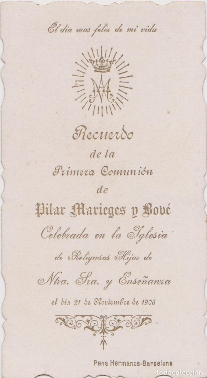 Postales: ANTIGUA ESTAMPA TROQUELADA RECUERDO PRIMERA COMUNIÓN - IGLESIA NTRA.SRA.ENSEÑANZA - BARCELONA- 1906 - Foto 2 - 183742711