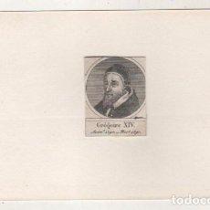 Postales: GRABADO MONTADO EN CARTULINA DEL PAPA GREGORIO XIV. Lote 183829217
