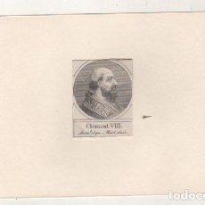 Postales: GRABADO MONTADO EN CARTULINA DEL PAPA CLEMENTE VIII. Lote 183829746